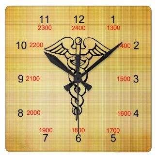 Caduceus Military Time Wall Clock