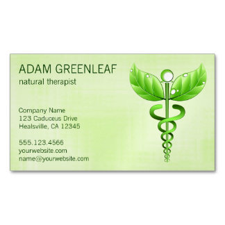 Caduceus Natural Therapist Business Card Magnet Magnetic Business Cards (Pack Of 25)
