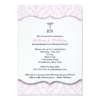 Caduceus Pink Nursing school graduation RN BSN LPN 13 Cm X 18 Cm Invitation Card
