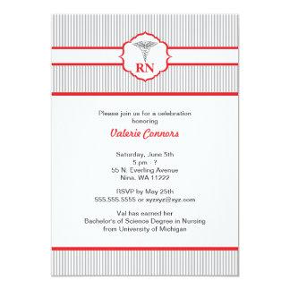 Caduceus RN BSN LPN Graduation Red and Gray 13 Cm X 18 Cm Invitation Card