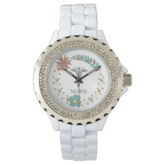 Caduceus Symbol Floral Boho | RN Nurses Nursing Watches