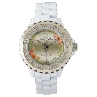 Caduceus Symbol Floral | RN Nurses Nursing Gold Wristwatch