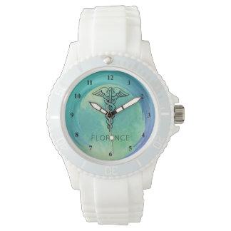 Caduceus Symbol | Nurses Nursing RN Aqua Green Watches