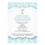 Caduceus Turquoise Nursing school graduation RN Custom Invitations