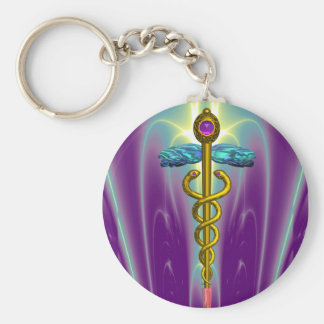 CADUCEUS , vibrant gold ametist Basic Round Button Key Ring