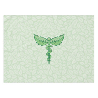 Caduceus with leaves background tablecloth