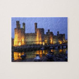 Caernarfon castle at dusk. puzzle