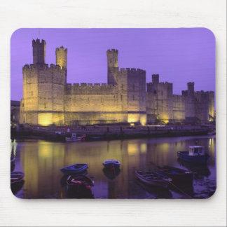 Caernarfon Castle, at Night, Gwynedd, Wales Mouse Pad