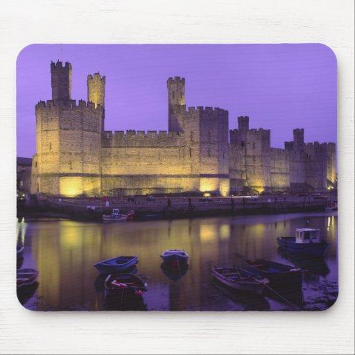 Caernarfon Castle, at Night, Gwynedd, Wales Mouse Pads