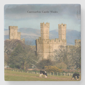 Caernarfon Castle Wales. Stone Coaster
