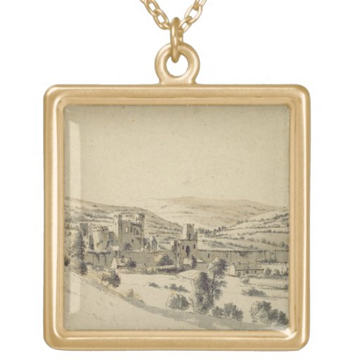 Caerphilly Castle (pen, ink and wash on paper) Pendants