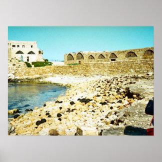 Caesarea - remains of the Roman port Poster