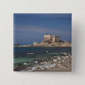 Caesarea ruins of port built by Herod the Great 2 15 Cm Square Badge