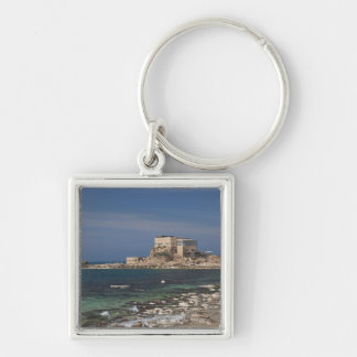 Caesarea ruins of port built by Herod the Great 2 Silver-Colored Square Key Ring