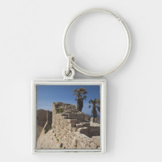 Caesarea ruins of port built by Herod the Great 3 Silver-Colored Square Key Ring
