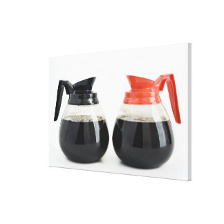 Caf. and Decaf. Coffee Pots on White. Canvas Print