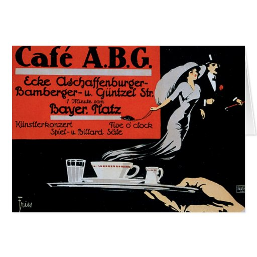Cafe ABG Vintage Coffee Shop Ad Art Greeting Card