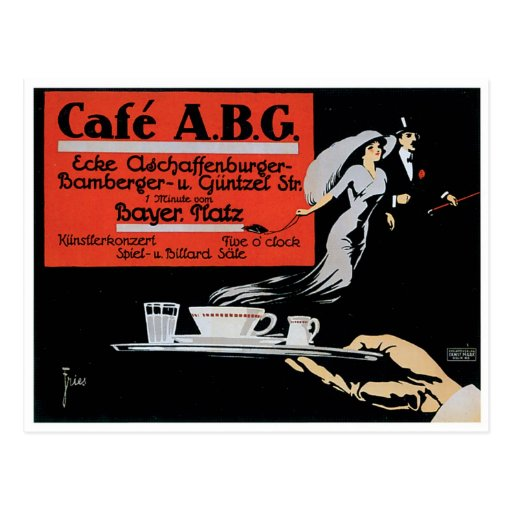 Cafe ABG Vintage Coffee Shop Ad Art Post Card