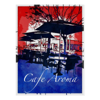 Cafe Aroma Sidewalk Cafe Red Blue Pop Art Design Postcard
