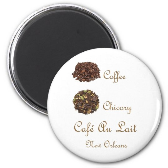 CAFE AU LAIT NEW ORLEANS COFFEE CHICORY 6 CM ROUND MAGNET