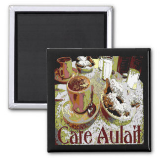 Cafe Aulait, New Orleans Coffee Square Magnet