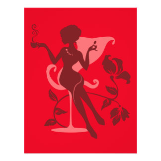 Cafe. Berry colors. Stylish elegant silhouette 21.5 Cm X 28 Cm Flyer