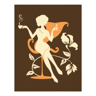 Cafe. Coffee colors. Stylish elegant silhouette 21.5 Cm X 28 Cm Flyer