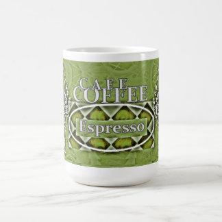 """Cafe Coffee"" Latte* Olive Grn Two-tone Coffee Mug"