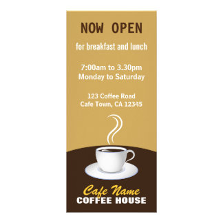 Cafe Coffee Menu Shop Beige and Brown Rack Cards Customized Rack Card