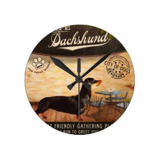 Cafe Dachshund Round Clock