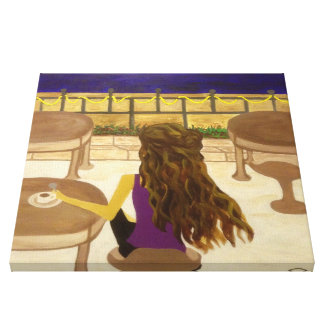 Cafe Girl Stretched Canvas Print