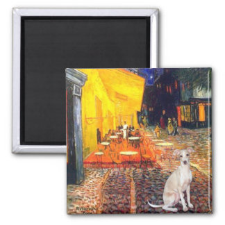 Cafe -Italian Greyhound 5 Square Magnet