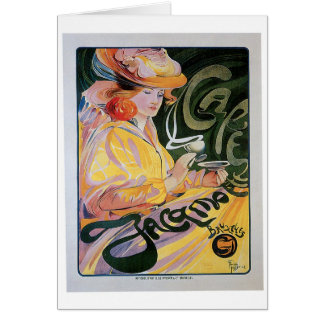Cafe Jacamo Vintage Coffee Drink Ad Art Stationery Note Card