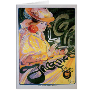 Cafe Jacamo Vintage Coffee Drink Ad Art Greeting Cards