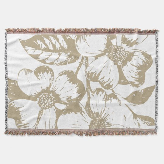 Cafe Latte Dogwood Floral Throw Blanket