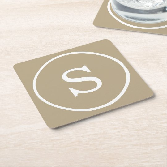Cafe Latte Solid Colour White Monogram Square Paper