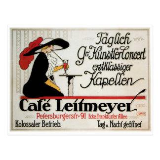 Cafe Leitmeyer Vintage Cafe Drink Ad Art Postcard