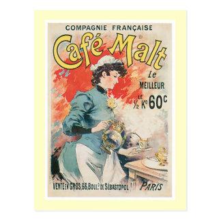 Cafe Malt Vintage Coffee Drink Ad Art Postcard