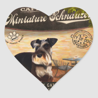 Cafe Miniature Schnauzer Heart Sticker