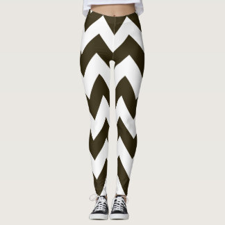 Café Mocha Neutral Chevrons Leggings
