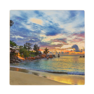 Cafe On Tropical Beach At Sunset Maple Wood Coaster