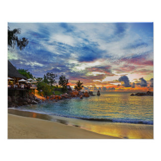 Cafe On Tropical Beach At Sunset Poster