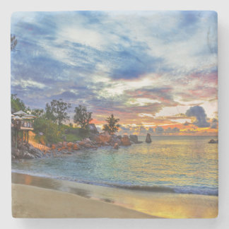 Cafe On Tropical Beach At Sunset Stone Coaster