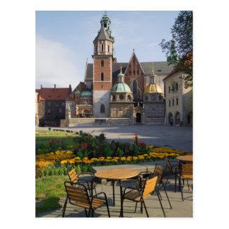Cafe overlooking Wawel Cathedral, Wawel Hill, Postcard