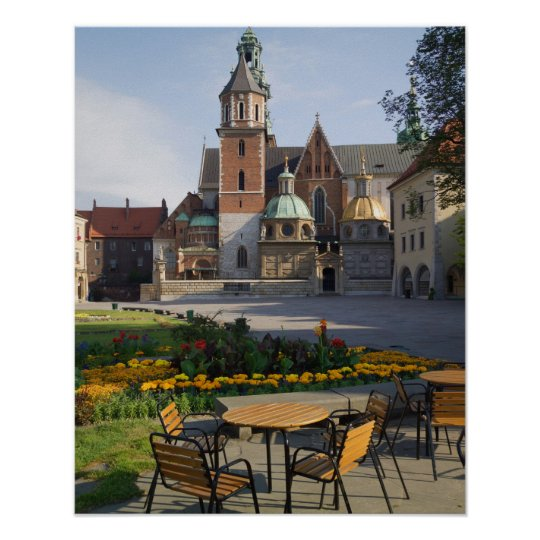 Cafe overlooking Wawel Cathedral, Wawel Hill, Poster