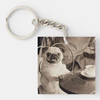 Cafe Pug Key Ring
