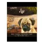Cafe Pug Postcard