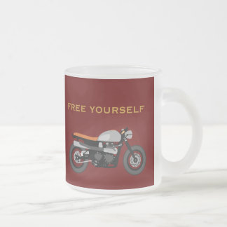 Cafe Racer,Brat Bike cool motorcycle Free Yourself Frosted Glass Mug