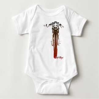 Cafe Racer Head-On Red Vintage Styled Motorcycle Baby Bodysuit
