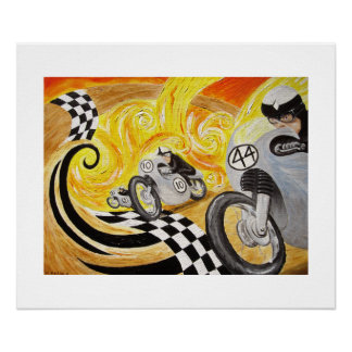 Cafe Racer - Painting of Vintage Motorcycle Racing Poster